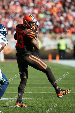 Cleveland Browns wide receiver Odell Beckham (13) makes a reception against the Seattle Seahawks during an NFL football game in Cleveland