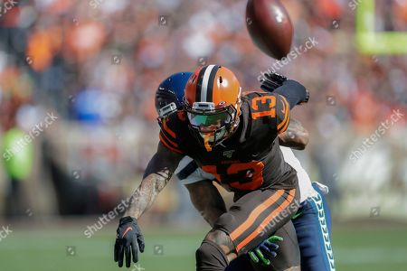 Stock Picture of Seattle Seahawks cornerback Jamar Taylor (24) breaks up a pass intended for Cleveland Browns wide receiver Odell Beckham Jr. (13) during the first half of an NFL football game, in Cleveland