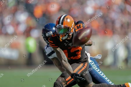 Stock Image of Seattle Seahawks cornerback Jamar Taylor (24) breaks up a pass intended for Cleveland Browns wide receiver Odell Beckham Jr. (13) during the first half of an NFL football game, in Cleveland
