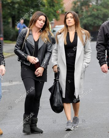 Stock Image of Alison King and Kym Marsh arrive for filming.