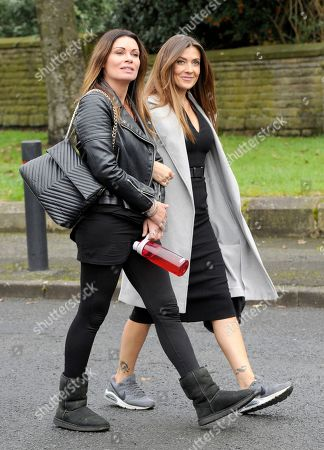 Alison King and Kym Marsh arrive for filming.