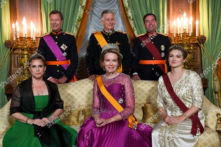 Grand Duke Henri of Luxembourg, King Philippe, Hereditary Grand Duke Guillaume of Luxembourg, Grand Duchess Maria Teresa of Luxembourg, Queen Mathilde and Grand Duchess Stephanie of Luxembourg attend the State Banquet hosted by the Grand Duke in honour of the King.
