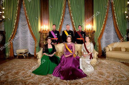 Grand Duke Henri of Luxembourg, Grand Duchess Maria Teresa of Luxembourg, King Philippe - Filip of Belgium, Queen Mathilde of Belgium and Hereditary Grand Duke Guillaume of Luxembourg, hereditary Grand-Duke of Luxembourg and Belgian Countess Stephanie de Lannoy