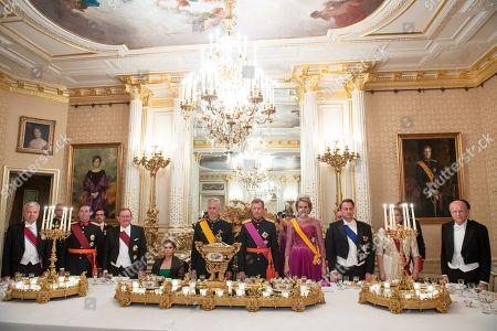 Stock Image of Queen Mathilde, King Philippe, Grand Duke Henri of Luxembourg, Grand Duchess Maria Teresa of Luxembourg, Grand Duchess Stephanie of Luxembourg and Hereditary Grand Duke Guillaume of Luxembourg