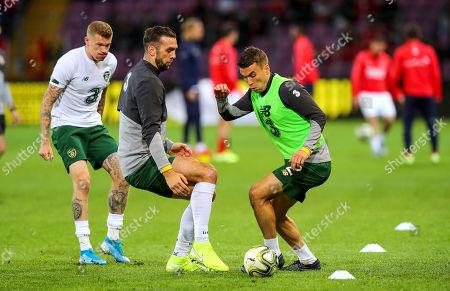 Switzerland vs Republic of Ireland. Ireland's Shane Duffy and Seamus Coleman