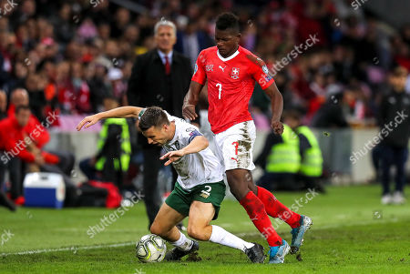 Switzerland vs Republic of Ireland. Ireland's Seamus Coleman with Breel Embolo of Switzerland