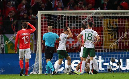 Switzerland vs Republic of Ireland. Ireland's Seamus Coleman reacts to conceding a penalty