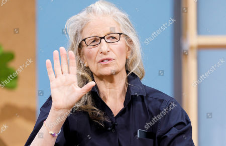 Stock Image of Photographer Annie Leibovitz talks about a project she did for Google with the company's new Pixel 4 phone, seen in her pocket, during a Google product launch event called 'Made by Google '19' in New York, New York, USA, 15 October 2019. The company introduced a number of new products at the event including a new phone, a new laptop, earbuds, and a new smart speaker.