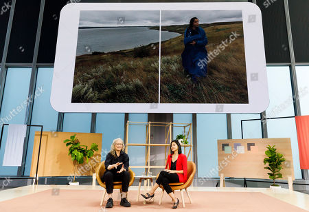 Photographer Annie Leibovitz (L) talks with Google employee Lily Lin (R) about a project she did for Google with the company's new Pixel 4 phone, seen in her pocket, during a Google product launch event called 'Made by Google '19' in New York, New York, USA, 15 October 2019. The company introduced a number of new products at the event including a new phone, a new laptop, earbuds, and a new smart speaker.