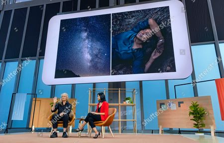 Stock Picture of Photographer Annie Leibovitz, left, and Lily Lin, with Google, talk about Leibovitz' experience using the Google Pixel 4 in a professional setting, in New York, as the new product was announced