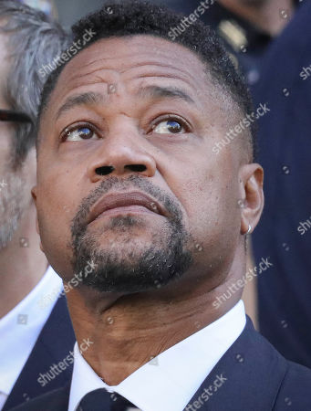 Cuba Gooding Jr., listens during a press conference after leaving court, where he plead not guilty to sexual misconduct charges, in New York