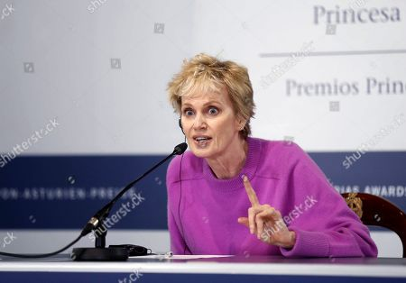 Stock Image of US writer Siri Hustvedt attends a press conference on her distinction with the Princess of Asturias Award for Literature, in Oviedo, Spain, 15 September 2019. The Princess of Asturias Awards are given every year to personalities or organizations from all around the world who make significant achievements in the sciences, arts, literature, humanities and sports. The ceremony will be held on 18 October 2019.