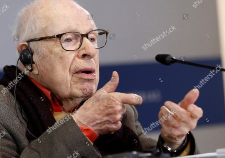 Britsh artist Peter Brook, who is considered the best stage director of the 20th century, attends a press conference on his distinction with the Princess of Asturias Arts Award, in Oviedo, Spain, 15 September 2019. The Princess of Asturias Awards are given every year to personalities or organizations from all around the world who make significant achievements in the sciences, arts, literature, humanities and sports. The ceremony will be held on 18 October 2019.