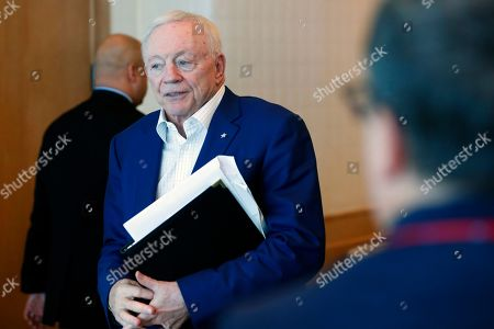Dallas Cowboys owner Jerry Jones arrives at the NFL Fall League Meeting, in Fort Lauderdale, Fla. NFL owners begin two days of meetings with formal talks on a new collective bargaining agreement expected to resume