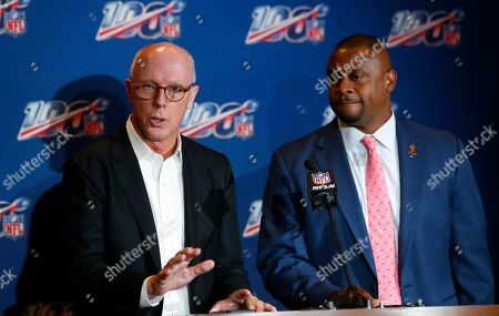 Rich McKay, Troy Vincen. Atlanta Falcons president and CEO Rich McKay, left, a member of the NFL competition committee, speaks as NFL executive vice president Troy Vincent, right, looks on during a news conference at the NFL Fall League Meeting, in Fort Lauderdale, Fla. NFL owners begin two days of meetings Tuesday with formal bargaining talks on a new collective bargaining agreement expected to resume soon