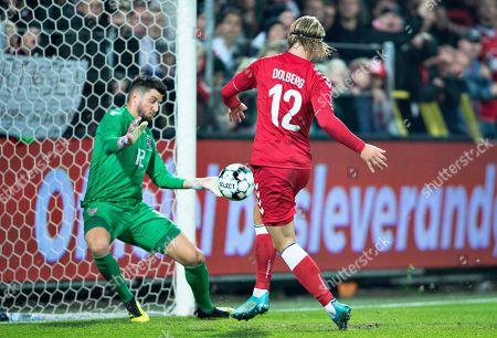 Kasper Dolberg of Denmark scores a goal during the friendly soccer match Denmark vs. Luxembourg at Aalborg Stadium, Denmark, 15 October 2019.