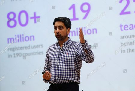 US engineer and mathematician Salman Khan, who will be awarded with the Princess of Asturias Award for International Cooperation, presents the educative platform Khan Academy, in Gijon, Asturias, Spain, 15 October 2019.