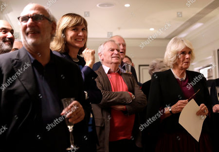 Camilla Duchess of Cornwall (R) with (L-R) Alan Yentob, Fiona Bruce, Jeffrey Archer and Tim Rice as she attends a reception hosted by Gyles Brandreth, President of the Oscar Wilde Society, to mark the anniversary of the author's birth at the Grosvenor House