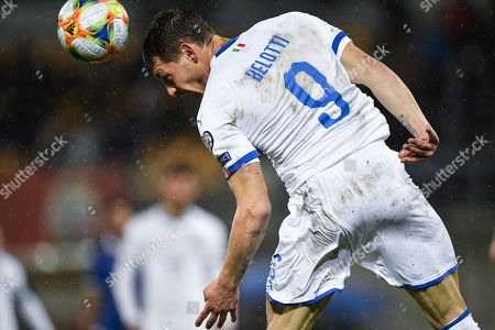 Stock Photo of Italy's Andrea Belotti in action during the UEFA Euro 2020 qualifying, Group J soccer match between Liechtenstein and Italy in Vaduz, Liechtenstein, 15 October 2019.