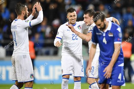 Stock Image of Italy's Andrea Belotti (2-R) celebrates scoring during the UEFA Euro 2020 qualifying, Group J soccer match between Liechtenstein and Italy in Vaduz, Liechtenstein, 15 October 2019.