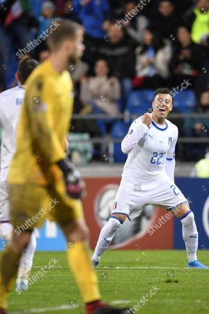 Italy's Stephan El Shaarawy celebrates after scoring during the UEFA Euro 2020 qualifying, Group J soccer match between Liechtenstein and Italy in Vaduz, Liechtenstein, 15 October 2019.