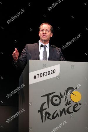 Editorial photo of Tour de france 2020 press conference, Palais des congres, Paris, France - 15 Oct 2019