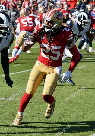 Stock Image of San Francisco 49ers cornerback Richard Sherman (25) follows a Los Angeles Rams wide receiver during an NFL football game against the Rams, in Los Angeles. The 49ers defeated the Rams 20-7