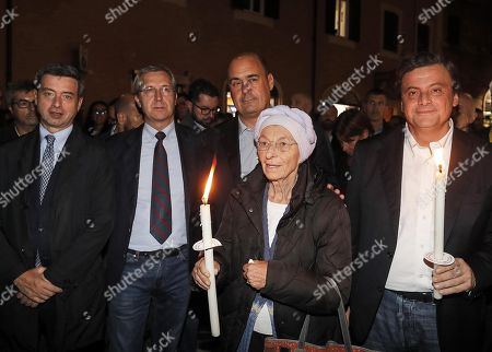 Stock Picture of Italian politician Emma Bonino (+Europe, 2-R) attends a torch procession to protest against the ongoing Turkish military operation in northern Syria against Kurdish forces, outside the Pantheon in the centre of Rome, Italy, 15 October 2019.