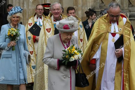 Stock Image of Camilla Duchess of Cornwall, Queen Elizabeth II and The Very Reverend John Hall