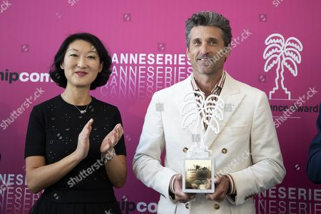 Fleur Pellerin and Patrick Dempsey as Patrick Dempsey receives the Canneseries Excellence Award