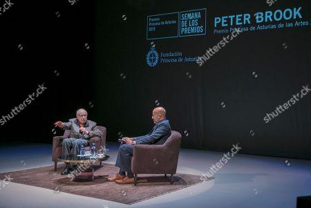 British writer Peter Brook (L), who will be awarded with the Princess of Asturias Award of Arts, attends an event at Palacio Valdes Teater in Aviles, Asturias, Spain, 15 October 2019.