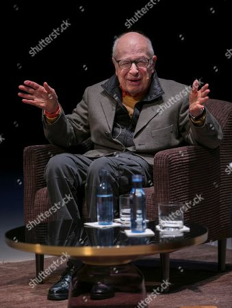 British writer Peter Brook, who will be awarded with the Princess of Asturias Award of Arts, attends an event at Palacio Valdes Teater in Aviles, Asturias, Spain, 15 October 2019.