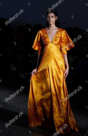 Stock Picture of A model wears a creation from the Fabiana Milazzo collection during Sao Paulo Fashion Week in Sao Paulo, Brazil