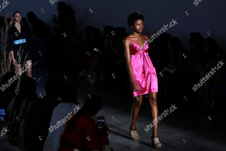 A model wears a creation from the Fabiana Milazzo collection during Sao Paulo Fashion Week in Sao Paulo, Brazil