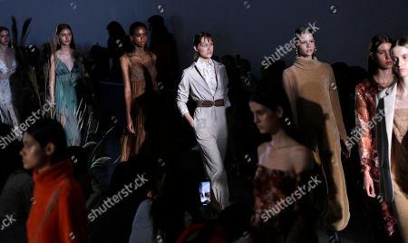 Model wears creations from the Fabiana Milazzo collection during Sao Paulo Fashion Week in Sao Paulo, Brazil