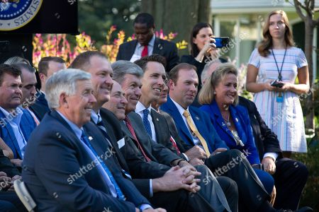 Stock Picture of Lawmakers from Missouri, including Governor Mike Parson, United States Senator Roy Blunt (Republican of Missouri), United States Senator Josh Hawley (Republican of Missouri), United States Representative Jason Smith (Republican of Missouri), and Representative Ann Wagner (Republican of Missouri)