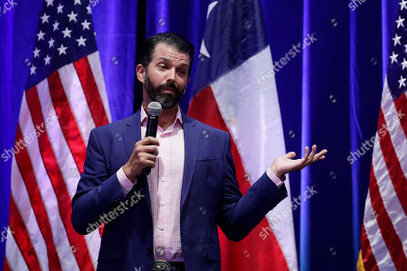 Donald Trump, Jr. speaks to supporters of his father, President Donald Trump, during a panel discussion, in San Antonio