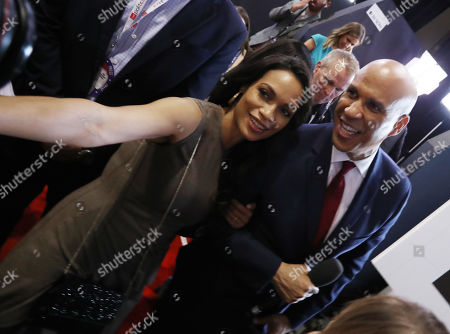 Stock Photo of Rosario Dawson and Cory Booker