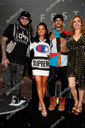 Puerto Rican singer-songwriter Farruko, US singer Becky G, Puerto Rican singer Yandel and Colombian journalist Leila Cobo pose during the Billboard Latin AMA Fest at NeueHouse, in Hollywood, Los Angeles, California, USA, 15 October 2019. The Billboard Latin AMAs will take place in Los Angeles, California on 17 October 2019.