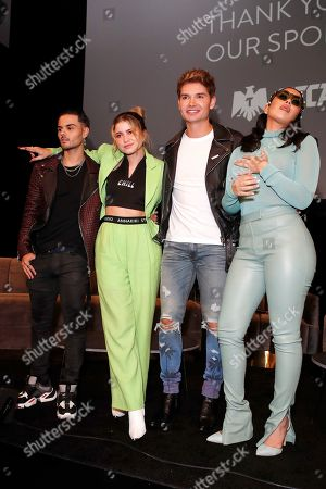 Abraham Mateo, Mexican singer-songwriter Sofia Reyes, US actor Christian Acosta and US singer Kali Uchis pose during the Billboard Latin AMA Fest at NeueHouse, in Hollywood, Los Angeles, California, USA, 15 October 2019. The Billboard Latin AMAs will take place in Los Angeles, California on 17 October 2019.