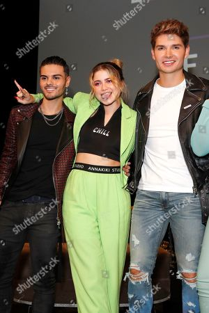 Abraham Mateo, Mexican singer-songwriter Sofia Reyes and US actor Christian Acosta pose during the Billboard Latin AMA Fest at NeueHouse, in Hollywood, Los Angeles, California, USA, 15 October 2019. The Billboard Latin AMAs will take place in Los Angeles, California on 17 October 2019.