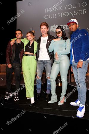 Abraham Mateo, Mexican singer-songwriter Sofia Reyes, US actor Christian Acosta, US singer Kali Uchis and Puerto Rican rapper Myke Towers pose during the Billboard Latin AMA Fest at NeueHouse, in Hollywood, Los Angeles, California, USA, 15 October 2019. The Billboard Latin AMAs will take place in Los Angeles, California on 17 October 2019.