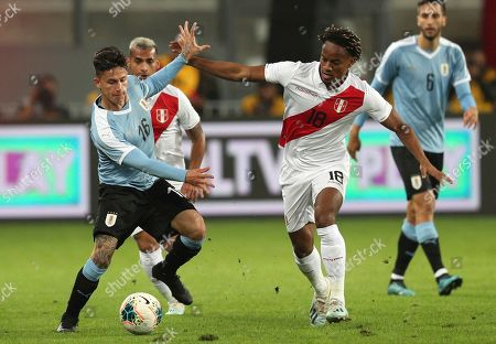 Brian Rodriguez, Andre Carrillo. Uruguay's Brian Rodriguez, left, fights for the ball with Peru's Andre Carrillo during a friendly soccer match in Lima, Peru