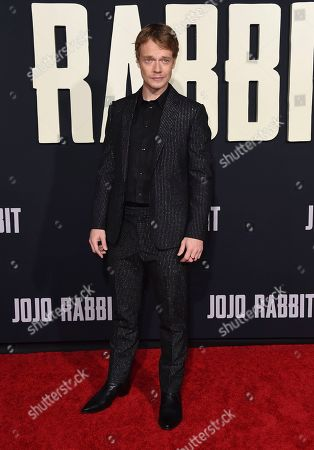 "Stock Image of Alfie Allen arrives at the Los Angeles premiere of ""Jojo Rabbit"" at the Hollywood American Legion Post 43 on"