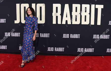 """Lisa Edelstein arrives at the Los Angeles premiere of """"Jojo Rabbit"""" at the Hollywood American Legion Post 43 on"""