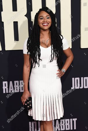 "Tanisha Long arrives at the Los Angeles premiere of ""Jojo Rabbit"" at the Hollywood American Legion Post 43 on"