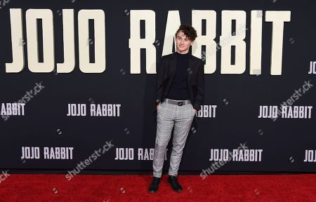 "Wyatt Oleff arrives at the Los Angeles premiere of ""Jojo Rabbit"" at the Hollywood American Legion Post 43 on"