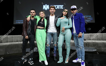 Stock Image of Abraham Mateo, Becky G, Christian Acosta, Kali Uchis and Myke Towers