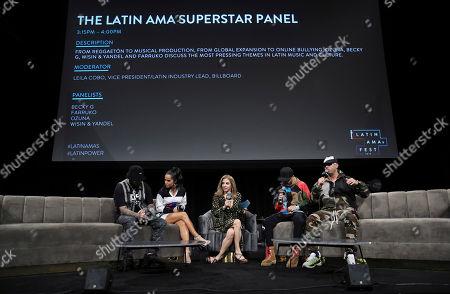 Farruko, Becky G, Leila Cobo and Juan Luis Morera Luna & Yandel