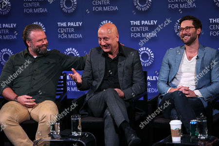 Tyler Labine, Anupam Kher and Ryan Eggold